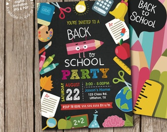 Back to School Summer Party (Photo) Invitation Digital Printable or Printed, any color any wording, free back design