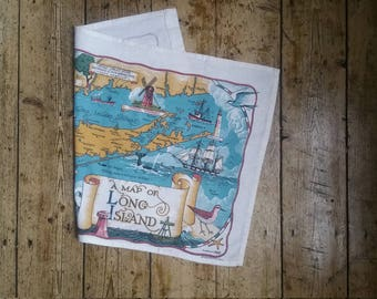 Vintage tea towels kitchen towels long Island souvenir beach sea map decor dining washing up Dolly Topsy Etsy UK