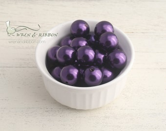 Acrylic Imitation  Pearl 22mm - solid grape - chunky necklace beads
