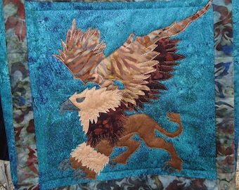 Griffin Purse / Quilted Griffin/ Fantasy Art / Hand Made