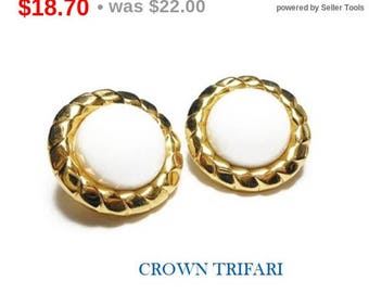 SALE Crown Trifari earrings, 1960s gold circle button earrings with white lucite cabochon center surrounded by gold rope like frame