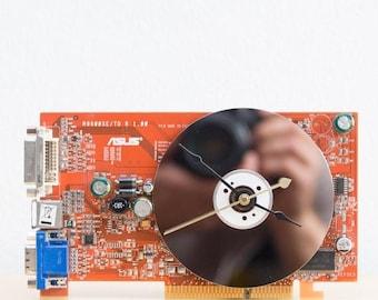 Desk clock - geeky office clock - Recycled video card clock - orange circuit board c2225