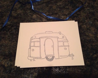 Set of 8 Airstream Trailer Cards, Camper, blank inside, coloring page