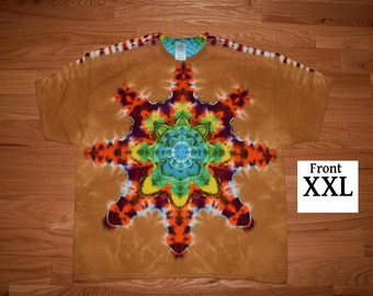 Tie Dye T-Shirt ~ Fire/Palomino Gold Mandala C_0062 2XL