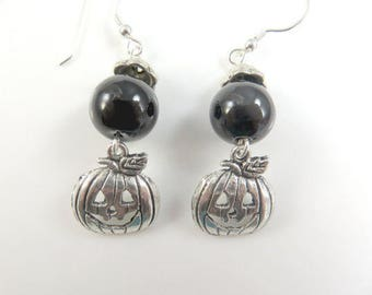 Black and silver pumpkin earrings