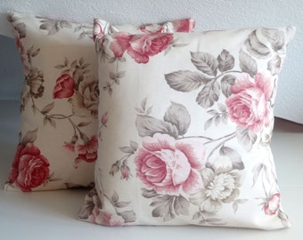 Pillow Cover, cottage chic, cushion cover, pillow case, 16 x 16, Pink, Grey, Roses Pillow Cover, Roses Cushion Cover