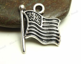 8 United States Flag Charms - Antique Silver Tone Metal - 18x15mm - Patriotic Charms or Pendants - BC31