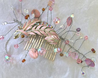 Vintage Pink Feather Hair Comb