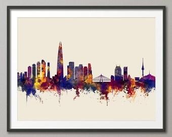 Seoul Skyline, Seoul South Korea Cityscape, Art Print (2715)