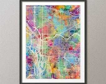 Portland Map, Portland Oregon City Map, Art Print (2736)
