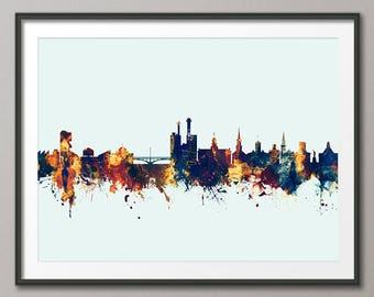 Iowa City Iowa Skyline, Iowa City Cityscape Art Print (2788)