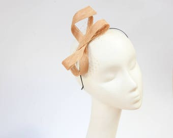 Fascinator Sinamay Headband Bow Champagne
