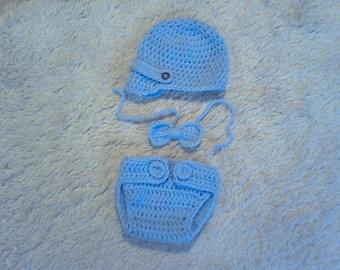 Crochet Baby Boy Newsboy 3 pc. set, Baby Boy Photo Prop,