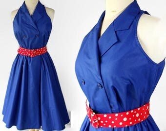 80s Does 50s Sundress, Rockabilly, Polka Dot, Red White Blue, Circle Skirt