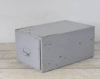 Antique Painted Gray Wood Drawer File Drawer Storage Drawer Wood File Cabinet