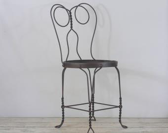 "Vintage Wrought Iron ice Cream Parlor Chair Garden Chair 34"" High"