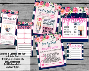 INSTANT DOWNLOAD LipSense Printables Navy Floral watercolor LipSense party bundle package party prints girls night Senegence price list