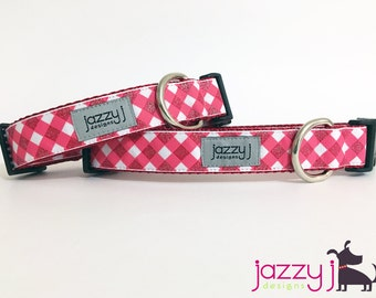Red and White Glitter Gingham Valentine's Day Dog Collar