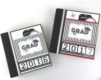 Graduation Album Kit or Premade Scrapbook Album Custom School Colors High school College
