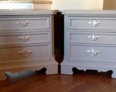 Pair of Classic  Gray  End Tables, Nightstands