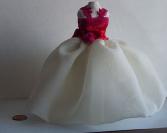 I:12th Dollhouse Dress Form with Red and White Dress