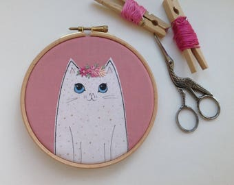 White cat hoop art. Cat lover gift. Pink and white cat art