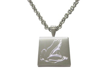 Silver Toned Etched Frog Pendant Necklace