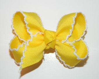 Yellow & White Medium Moonstitch Hair Bow