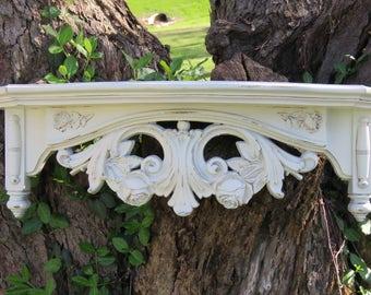 Heirloom White Ornate Syroco  Wall Shelf