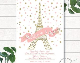 Digital Birthday Invitation, Printed Invitation, Digital Invitation, Paris Invitation, Paris Birthday Invitation, Paris, Birthday Invitation