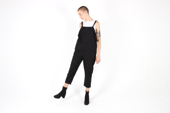 Staple BLACK LINEN Minimal Slouchy / Oversized / Loose / Relaxed Cotton Overalls / Dungarees / Jumpsuit / Onesie