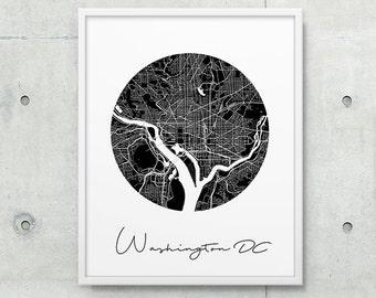 Washington DC Urban Map Poster. Washington DC City Street Map Print. Black & White Washington DC Print. Geometric Decor. Printable Art