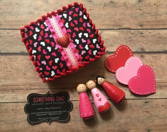 Valentine's Day Wood Peg People Kids Gift set Heart Pink Red