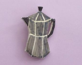 Coffee pot Handmade clay pin