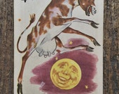 Single Vintage Children's Playing Card The Cow Jumps Over the Moon