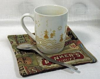 2  Old Cigar Boxes Mug Rugs - Coasters - Hot Pads - Snack Mats