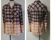 Upcycled Clothing, Dip Dyed Black White Red Plaid Shirt, Vintage Flannel Shirt, Bleach Dyed, Reclaimed Button-up Shirt, Ladies Medium #041