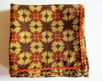 Crazy German Vintage Retro Printed Tablecloth in Iconic Beige Brown Colours and Orange Zig Zag Trim