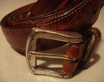 Vintage 1980s Boho Genuine Distressed Tan Brown Leather Belt Unisex