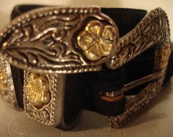 Boho 1990s Vintage Black Ornate Metal Detail Belt