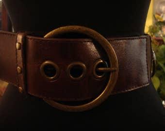 Vintage 1990s Boho Dark Brown Leather And Elastic Brass Ring Buckle Belt