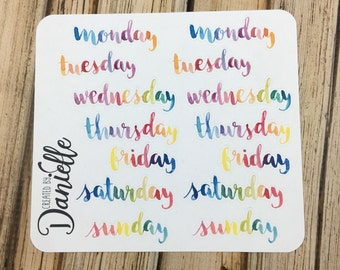 40-50% OFF SALE - Days of the Week Stickers, Bullet Journal Stickers, Notebook Stickers, Bujo Stickers, Large set of  14 - Rainbow