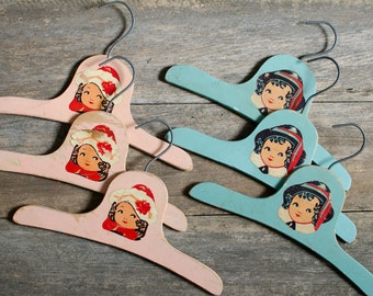 Vintage Pink and Blue Wooden Clothes Hangers - Set of 6