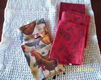 Chickens, Chickens, Chickens Cotton Fabric Fat Quarters