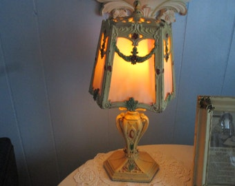 SALE,,,,GORGEOUS Barbola Chippy Antique  Deco Lamp, French, French Country, Swags, Metal, Hand painted,Ornate