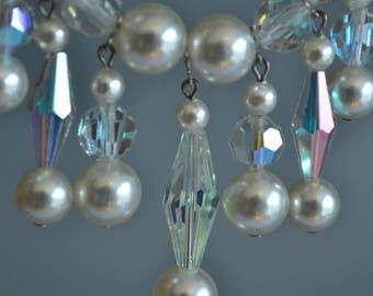 Bridal Pearl Choker Pearl Collar Necklace Crystal Choker Dangle Necklace Pearl and Crystal Choker Pearl Wedding Necklace Sparkly Choker