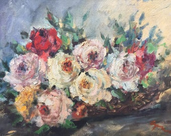 Roses bouquet. Oil painting Still life with flowers