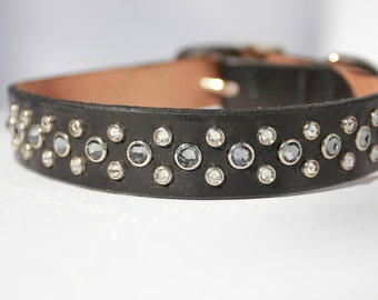 "16-19"" Leather Dog Collar with Black Diamond Swarovski Crystals"