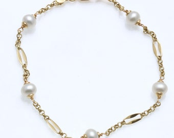 Vintage 18k yellow gold Pearl Chain Bracelet Pearl by the yard Estate