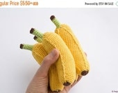 BLACK FRIDAY SALE Banana Baby Rattle, Crochet Toy, Crochet Food, Pretend Play - FrejaToys